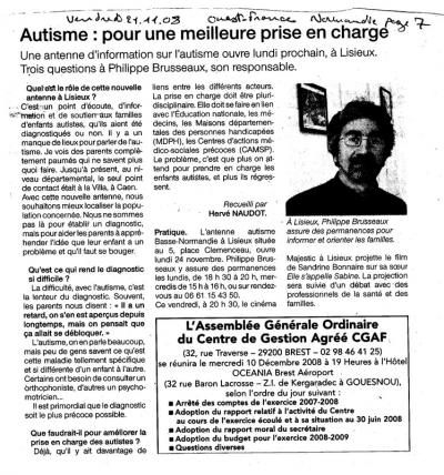 article Ouest France du 21 nov 2008